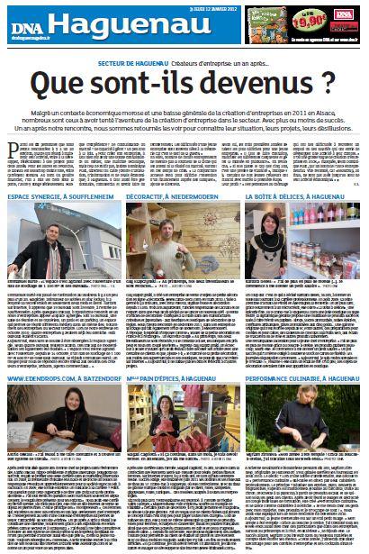 """Article des DNA """"1 an après"""" du 12 janvier 2012"""