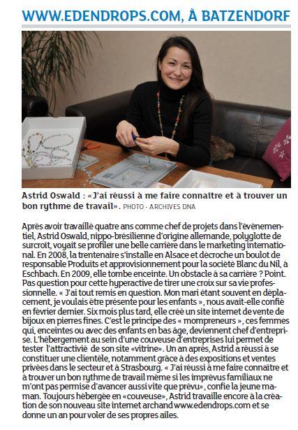 Article des DNA du 12 janvier 2012 - focus sur edendrops.com