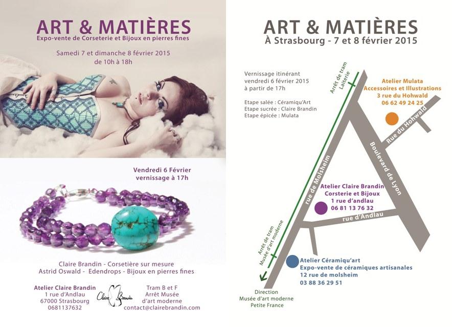 Flyer Art et Matières - Pôle Bijoux et Corsets - Plan des Ateliers ouverts