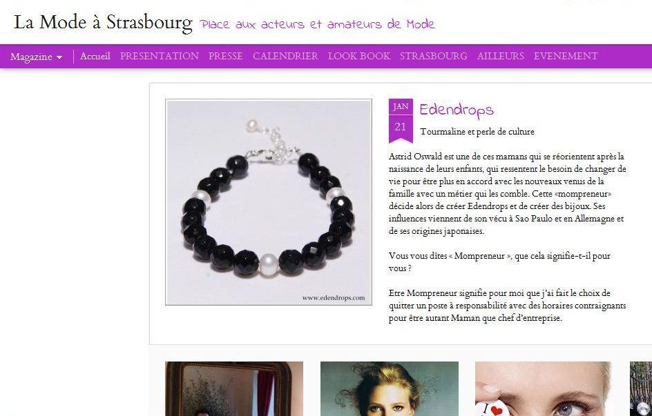 Article du blog La Mode à Strasbourg sur EDENDROPS