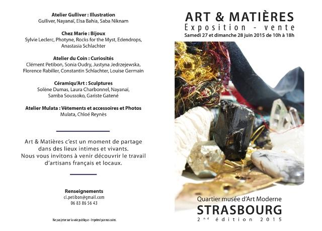 Flyer Art et Matières edition 2 : 26 au 28 juin 2015
